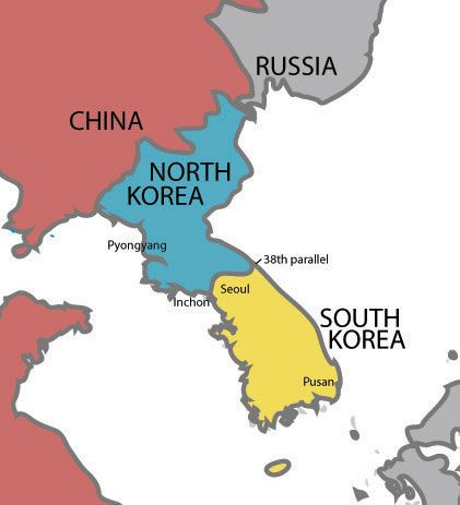 Map of North and South Korea showing the location of the ...
