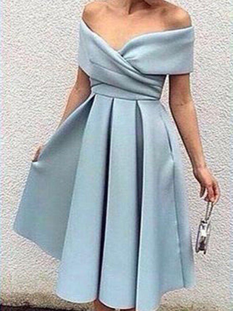 Beautiful Homecoming Dress Off-the-shoulder Satin Short Prom Dress ...