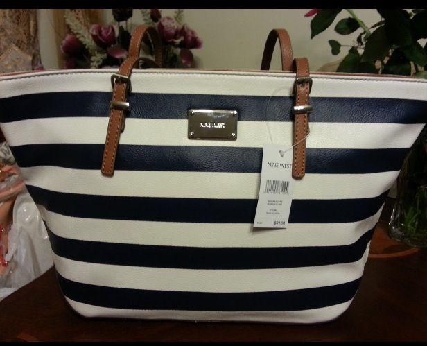 Nine West Navy White Striped Handbag Love