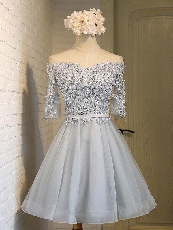 1e612028ef2c Off shoulder Half Sleeves Lace Appliqued Short Prom Dresses,apd2483 -  SheerGirl