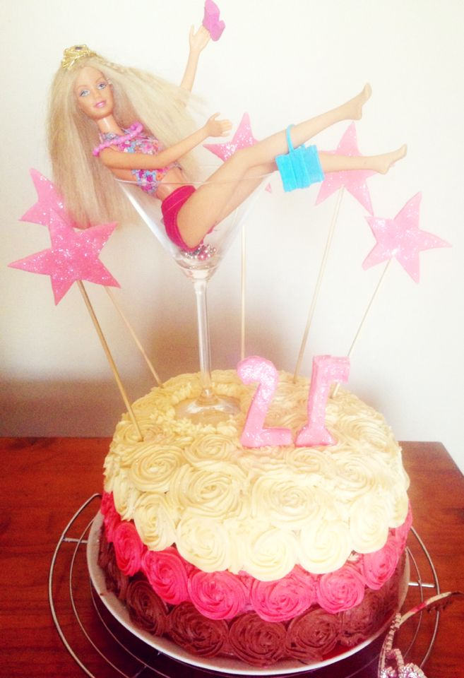 21st Barbie Birthday Cake With Buttercream Rosettes Cakes
