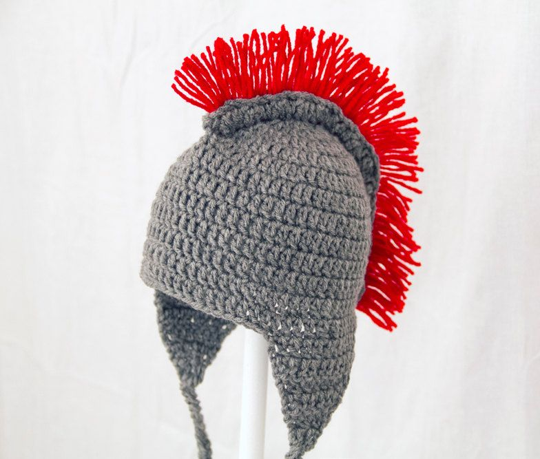 Spartan / Trojan Earflap Hat in Grey and Red, send size choice baby ...