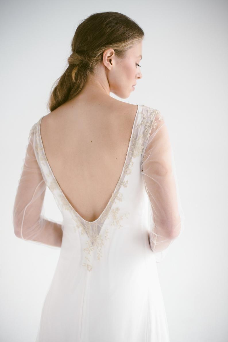 Sample Sale Lace Wedding Dress Edel Long Sleeve Ivory Bridal Etsy Lace Back Wedding Dress Ivory Bridal Gown Wedding Dresses