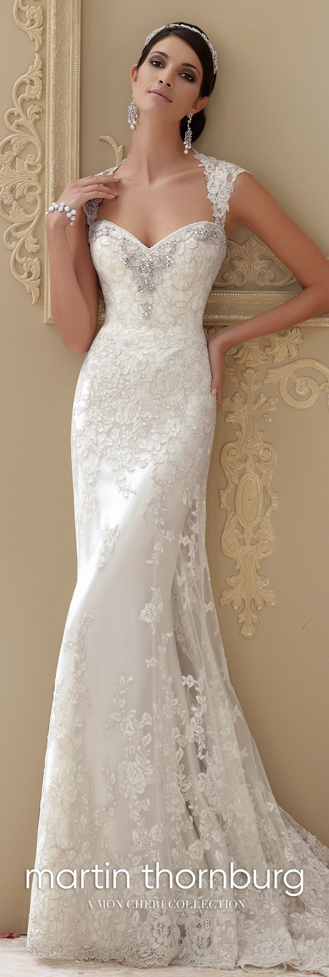 Simple fitted lace with cap sleeves wedding dress lourdes