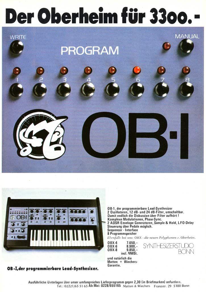 Oberheim OB-1 Anzeige 1980