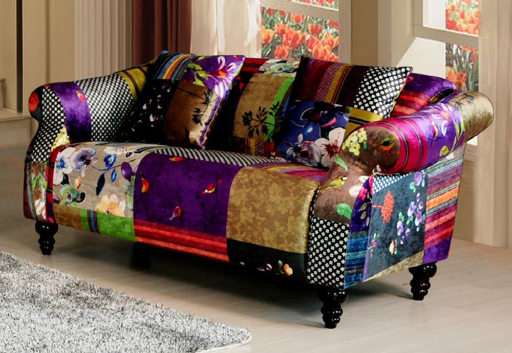Anna Shout 2 Seater Luxury Fabric Patchwork Sofa