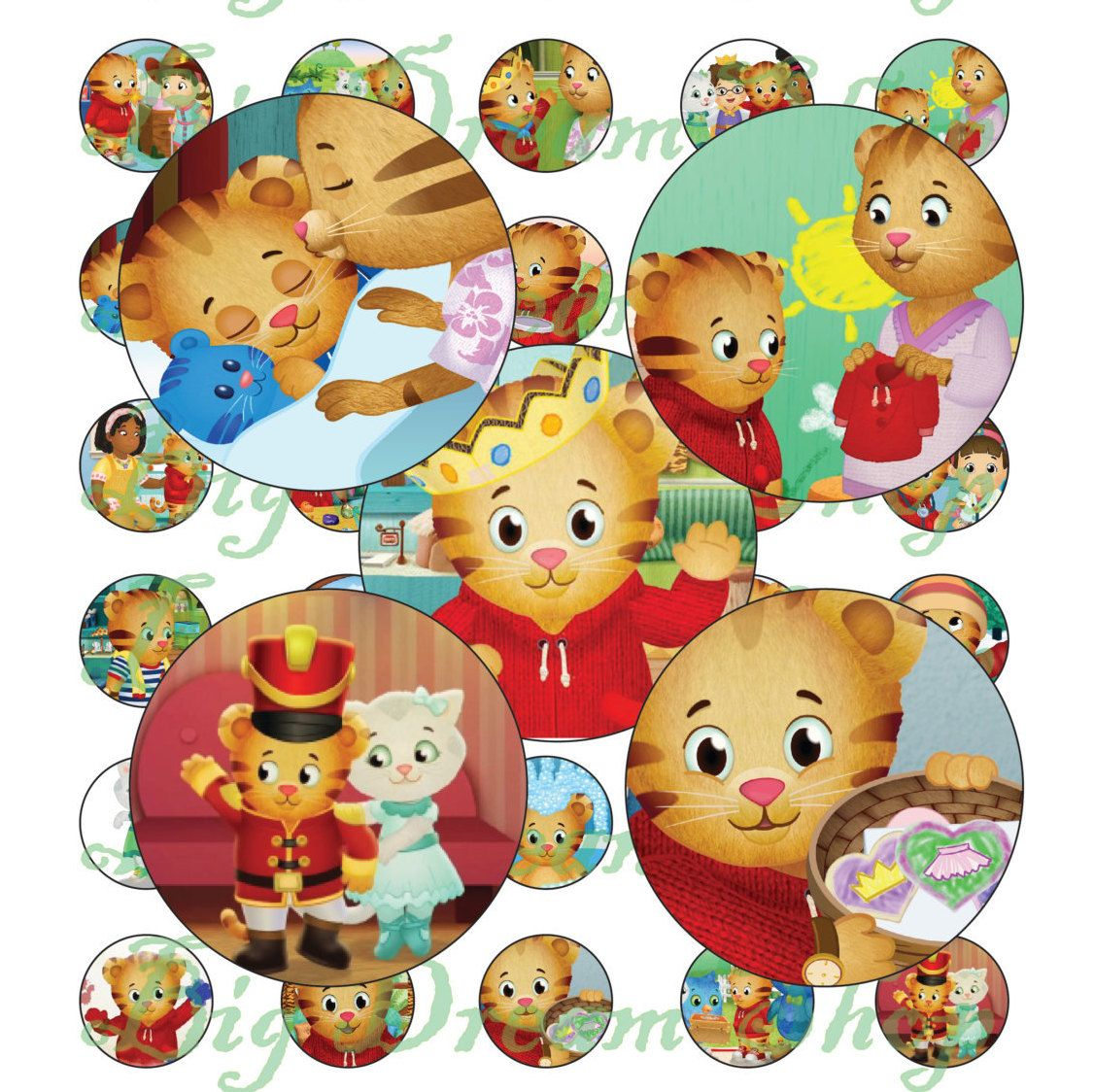 40 - Daniel Tiger's Neighborhood party stickers digital collage sheet 1'' A4 craft printable pendants bottle cap images pendant by BigDreamShop on Etsy