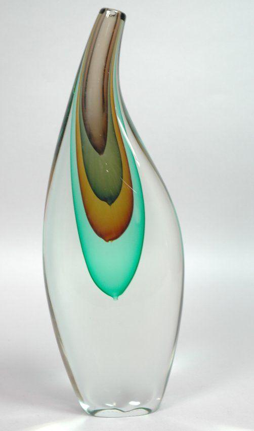 Salviati Italian Art Gl Vase. Murano cased gl on | Gl Art ... on
