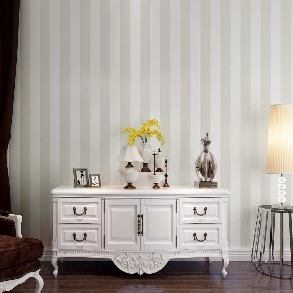 Accent Wall Modern Simplicity Stripes Flocked Non Woven Wallpapers ...