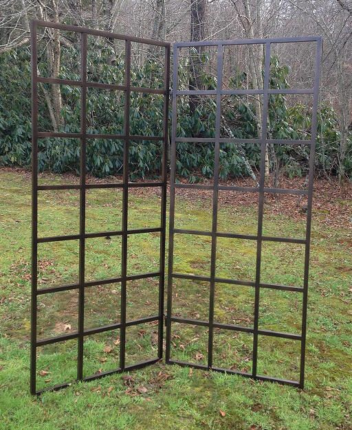 Grid trellises can be configured to fold or stand on a patio