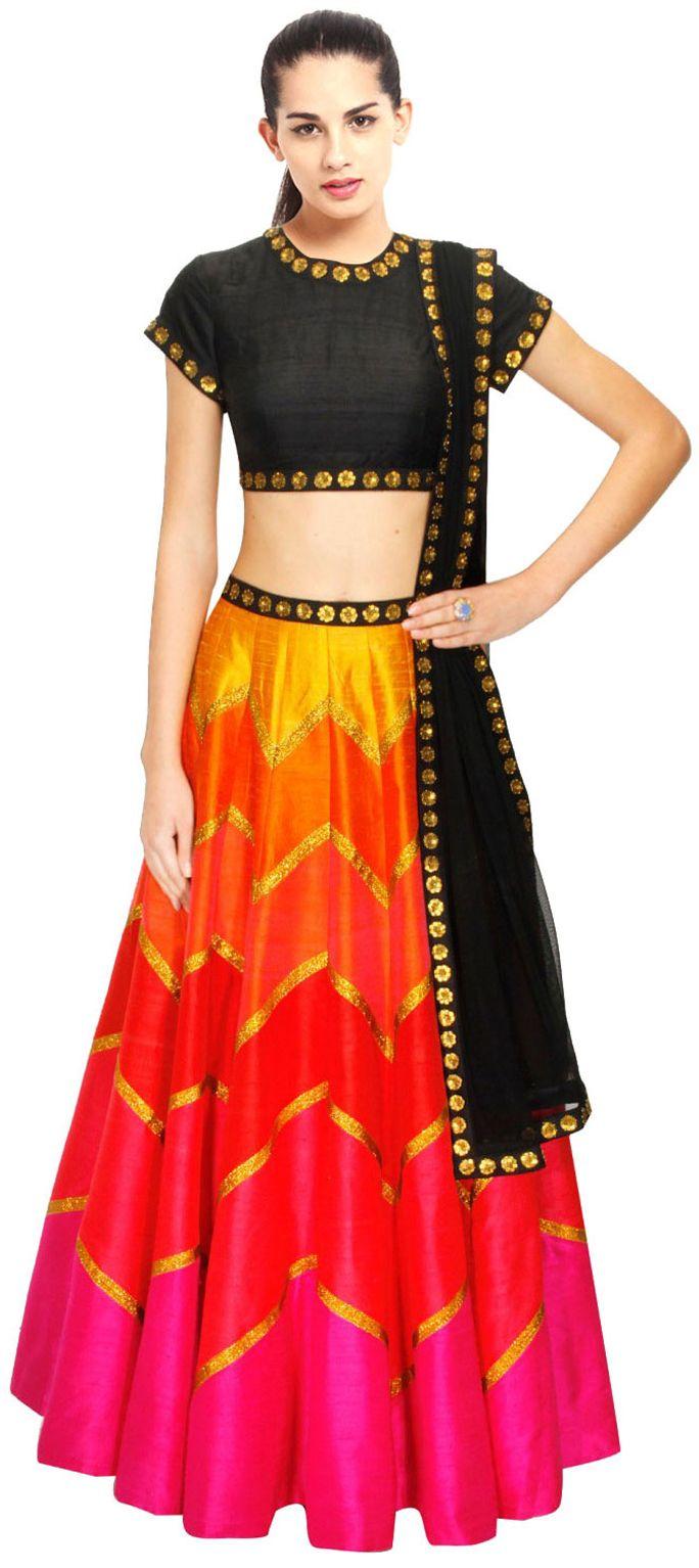 155740: Multicolor color family Mehendi & Sangeet Lehenga.   Like a ...