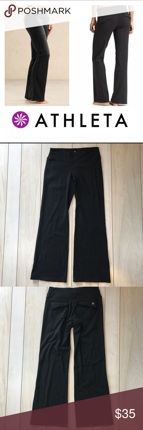 eee42f7c5dbd5 Athleta Black Fushion Yoga Wide Leg Pants Black pants with back flap  pockets Wider leg or flare style Wide waistband Size small petite (SP) Very  good ...