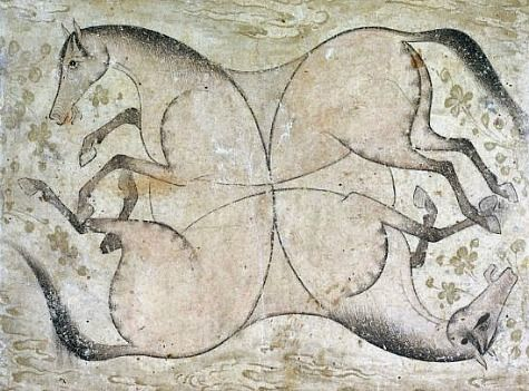 Unknown Persian artist, Four interlaced horses (17th century) ~ This is great!