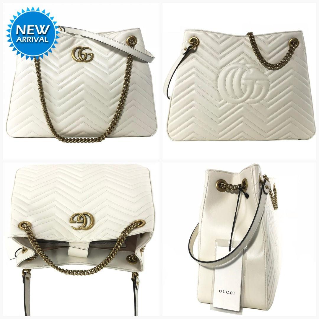 fd41ca09c17b GUCCI Marmont GG White Leather Shoulder Bag 453569  Gucci  Balenciaga   SaintLaurent  DesignerHandbags  Handbags  Prada  Designer  QueenBee  Fendi   Fashion