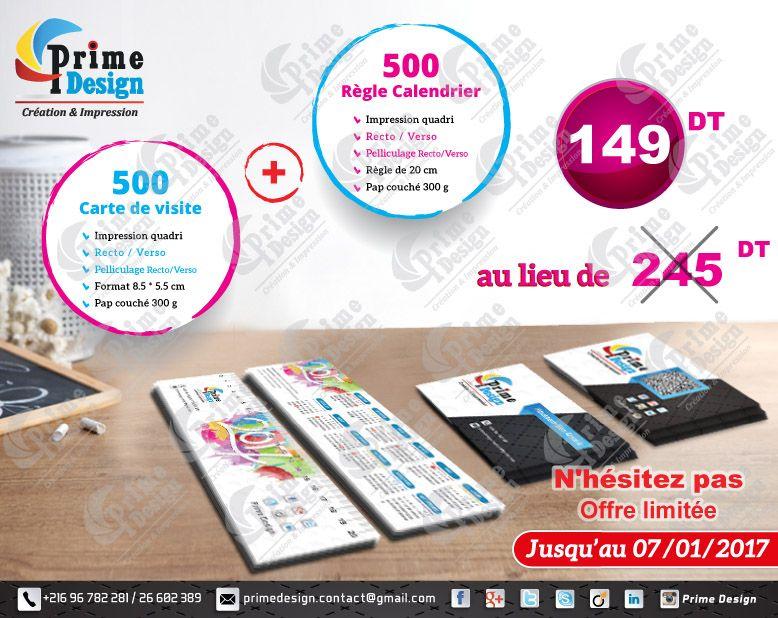 Promo Prime Design 500 Carte De Visite Recto Verso Regle Calendrier Personnalise Nhesitez Pas A Nous Contacter