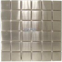 "Clear View Mosaic Tile - Stainless Steel Tiles - 1 11/16"" x 1 11/16"" Stainless Tile 12"" x 12"" Mesh Backed Sheet"