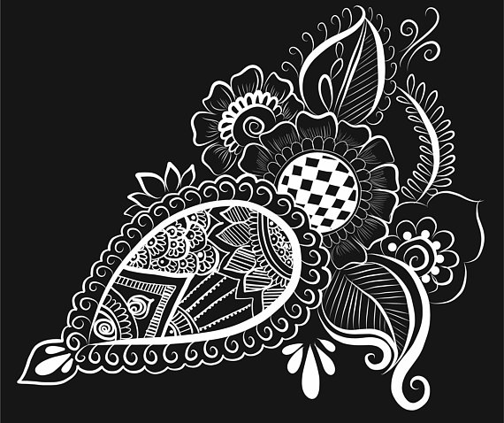 Henna Paisley Vector Art Design Png Transparent Background Pattern