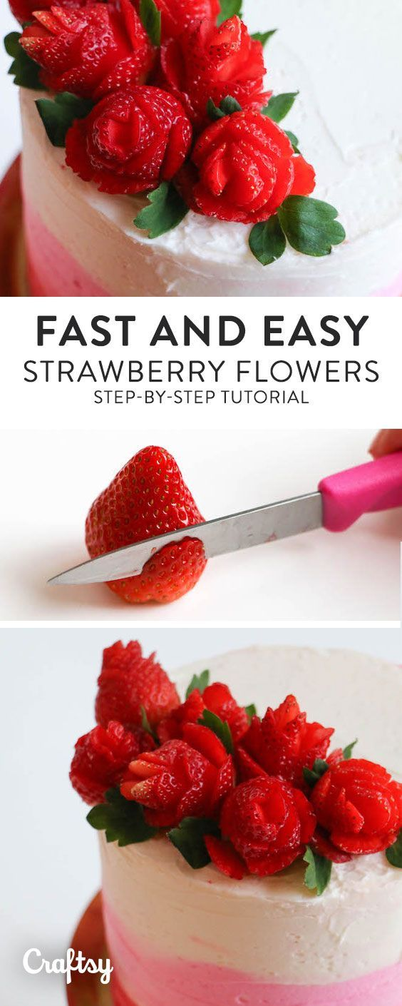 Make simple but stunning strawberry roses for your special sweetie