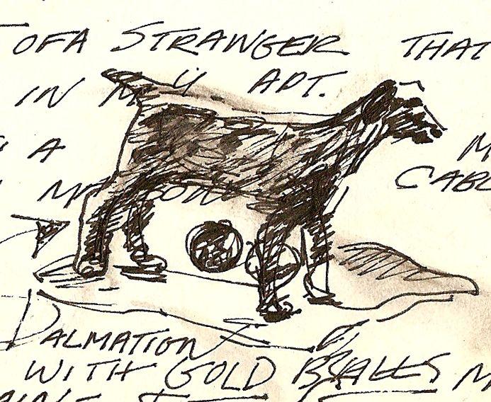 dog Julie Moll Sketchbook journal drawing of ashtray, china town apt. San Francisco