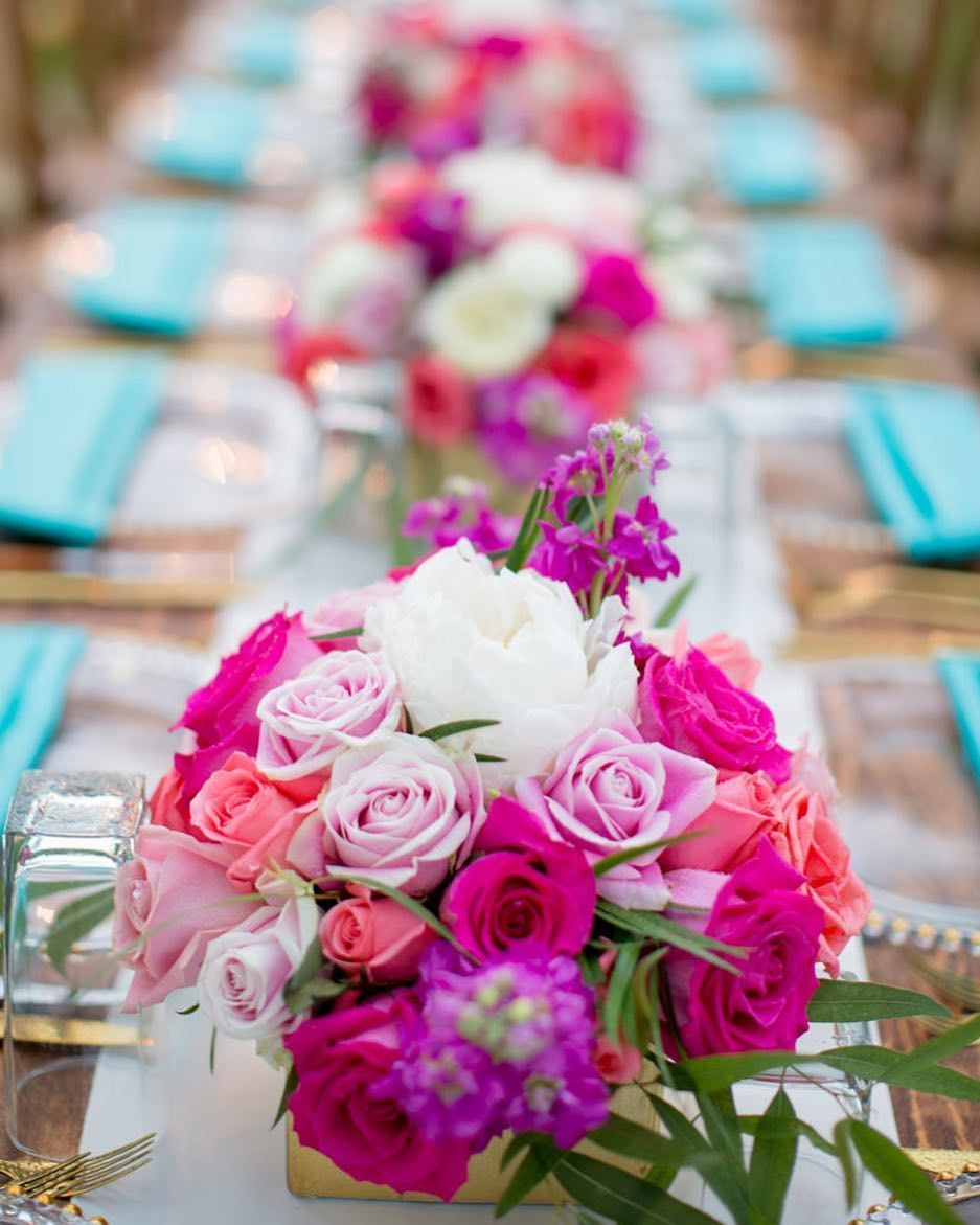 Turquoise Details Pink Flower Centerpieces Bliss And Petals