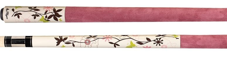 Players Flirt Series Cue Divine Eggshell White Paint Green Design Pink Suede