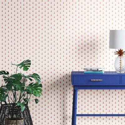 Mini Pineapple Peel & Stick Removable Wallpaper Metallic