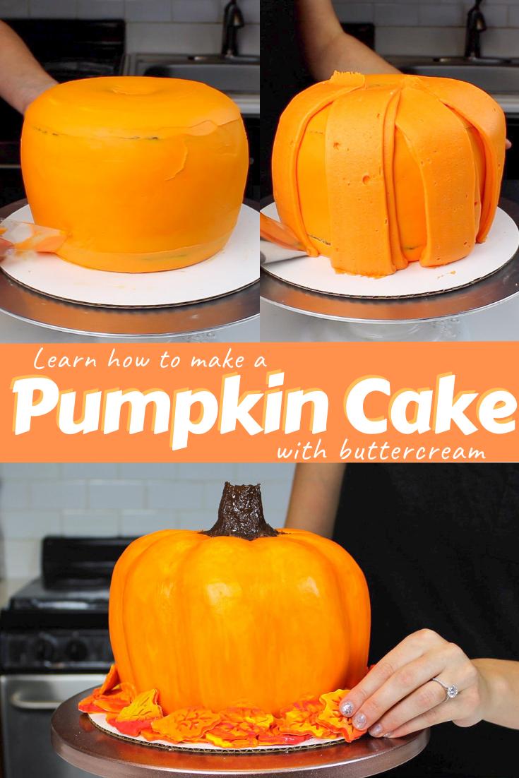 Pumpkin Cake #pumpkinshapedcake This pumpkin shape cake not only looks like a pumpkin, but it tastes like one too! It's made with pumpkin cake layers, and is the perfect Fall cake!! #pumpkincake #DIYpumpkincake #pumpkincakerecipe #pumpkinshapedcake