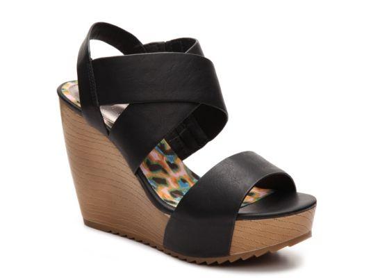 Womens Madden Girl Roma Wedge Sandal  Black