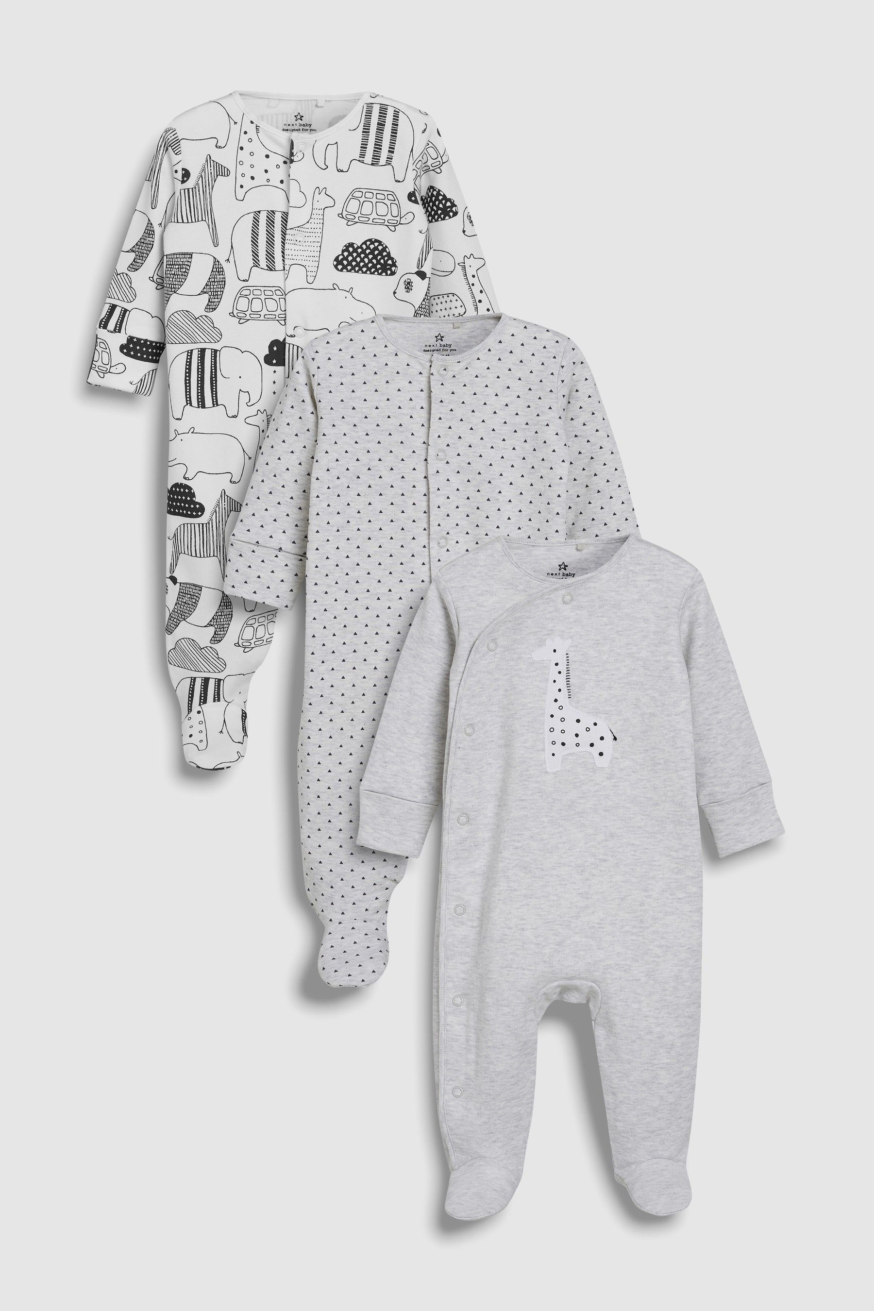 Next Monochrome Giraffe Sleepsuits Three Pack (5mths-5yrs) - Grey