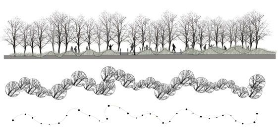 Landscape Architecture Section Drawings landfill garden | providence usa | l+a landscape architecture