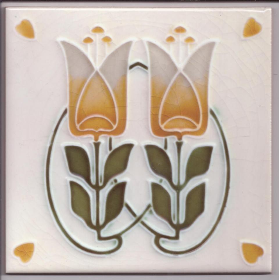 Art nouveau stylised tulip ceramic tile ref 029 art nouveaudeco art nouveau stylised tulip ceramic tile ref 029 dailygadgetfo Images