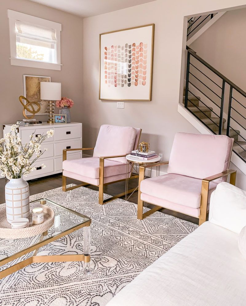 Living room design, blush chairs, white and gold living ...