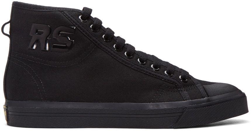 Raf Simons Black Nubuck High-Top Sneakers nrrj9