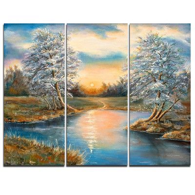 Designart Birches In Autumn Wood 3 Piece Painting Print On Wrapped Canvas Set Wayfair In 2020 Painting Painting Prints Canvas Set