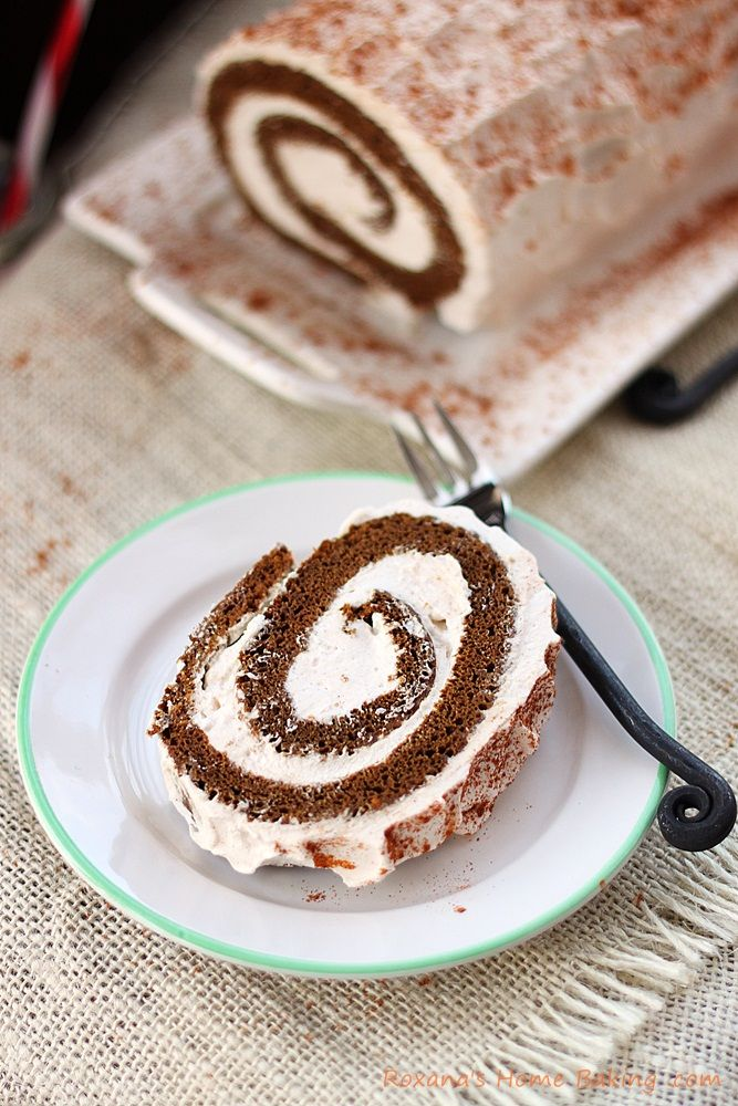 Gingerbread roll cake #rollcake