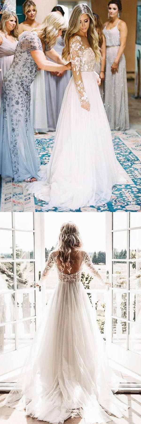 Long sleeve ivory tulle see through backless wedding dresses wd