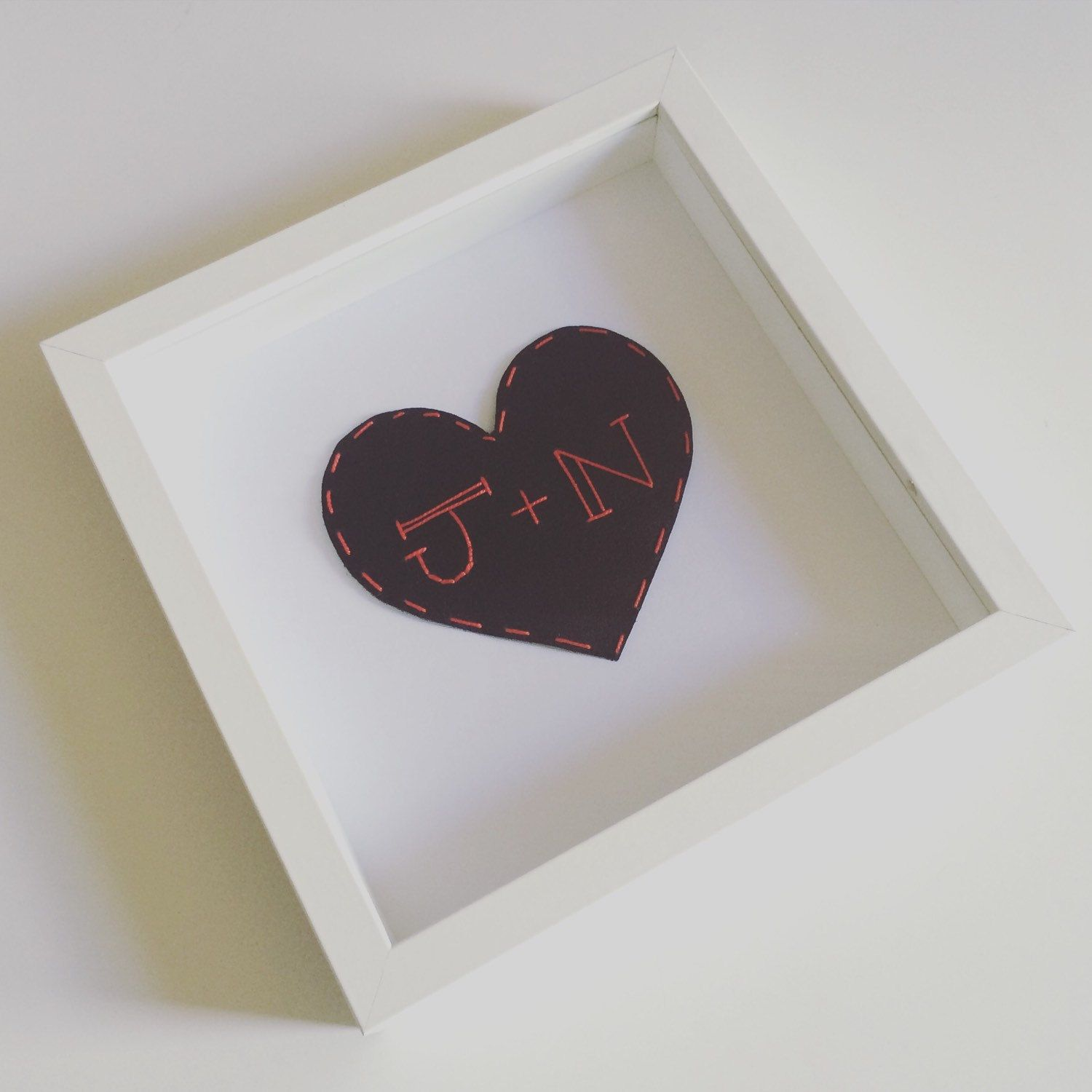 Framed Personalised Leather Heart 3rd Wedding Anniversary Gift