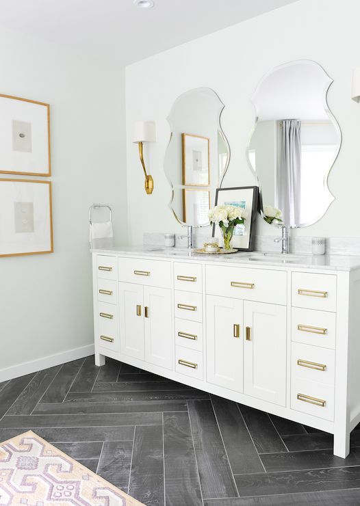 38 Gray Bathroom Floor Tile Ideas And Pictures House And Home Magazine Herringbone Floor Room Flooring