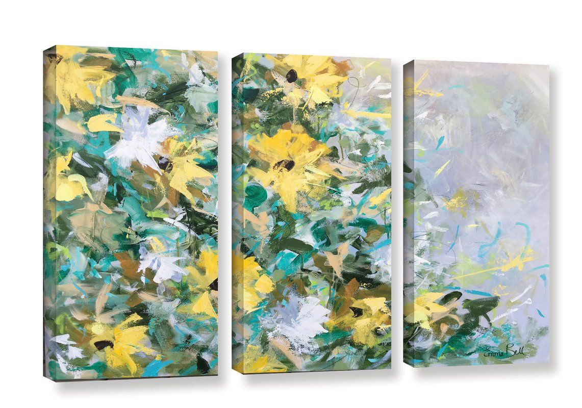 Sunflowers and daisies piece painting print on wrapped canvas set