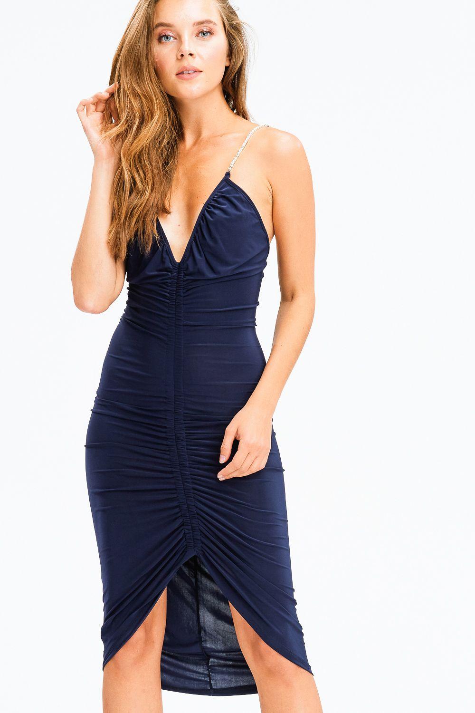 Diamonds Are Forever Midi Dark Navy Blue V Neck Ruched Front Rhinestone Embellished Spaghetti Str Mini Dress With Sleeves V Neck Midi Dress Fitted Midi Dress [ 1500 x 1000 Pixel ]