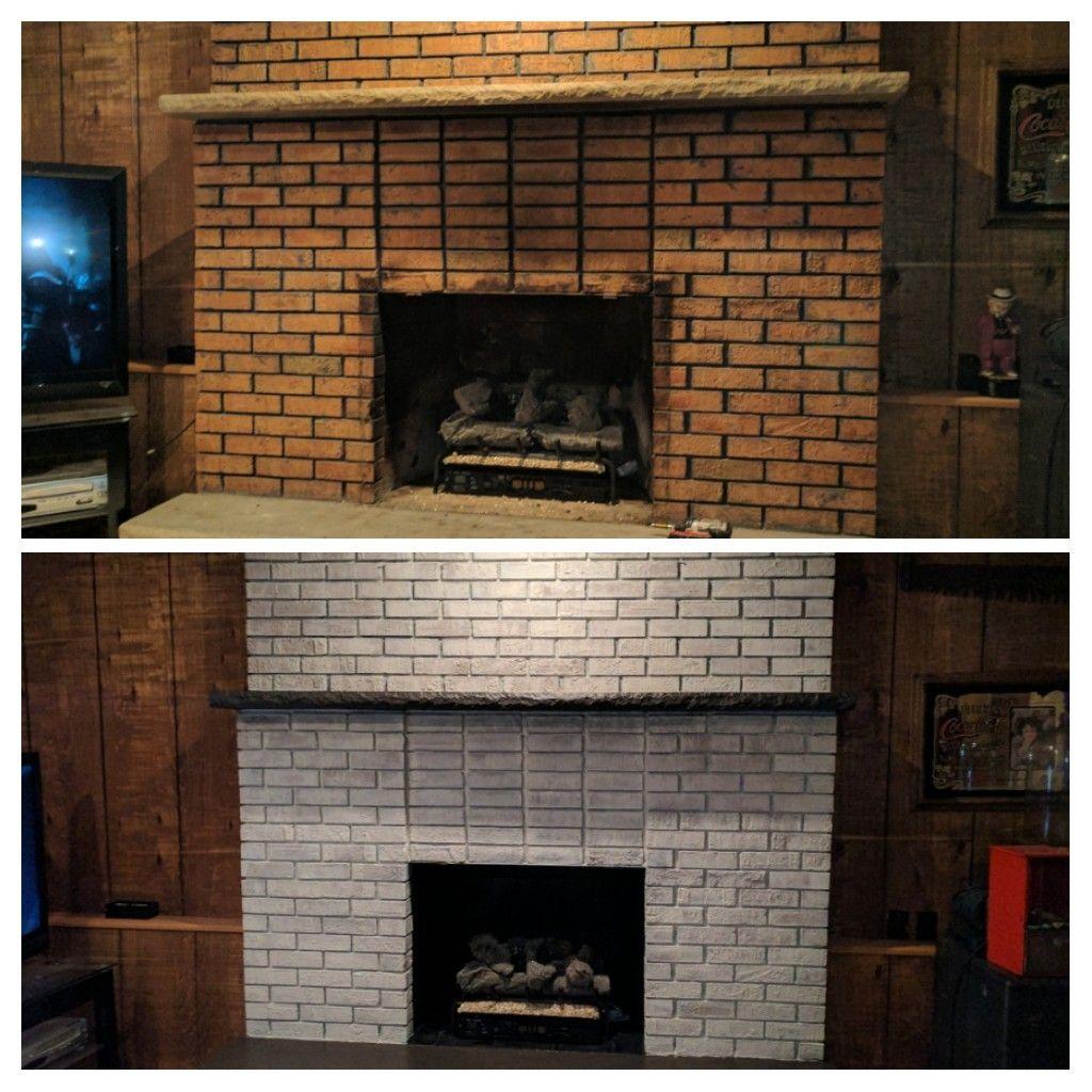 Whitewashed fireplace DIY Remodel Pinterest