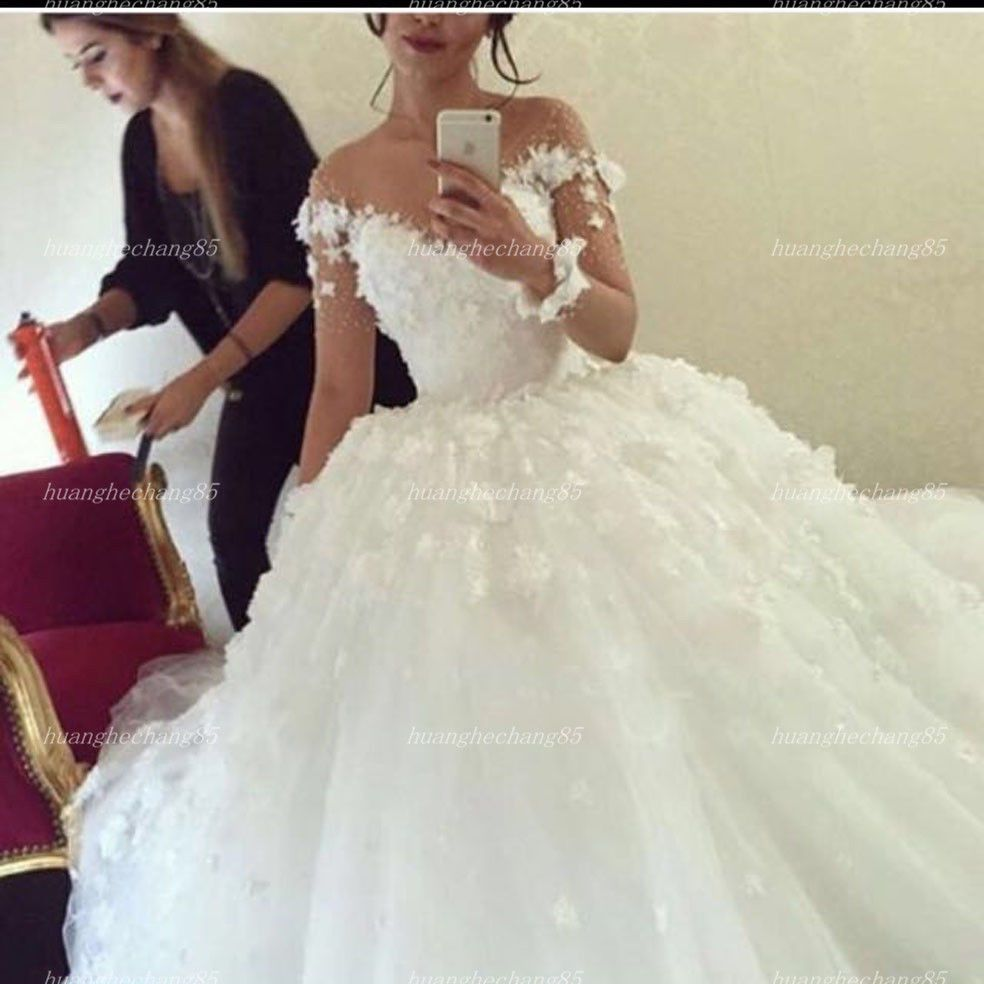 d277db02bf1 Nice Great 2018New White Ivory Wedding Dress Bridal Ball Gown Long Sleeves  Custom Size 2