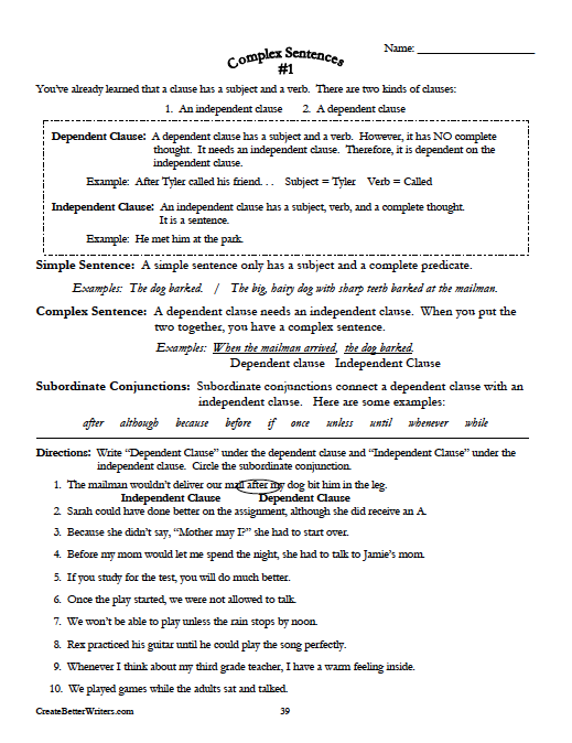 Complex Sentences Great Way To Help Students Start Using More Powerful Sentences From Grades 7 8 An Complex Sentences Grammar And Punctuation Grammar Skills