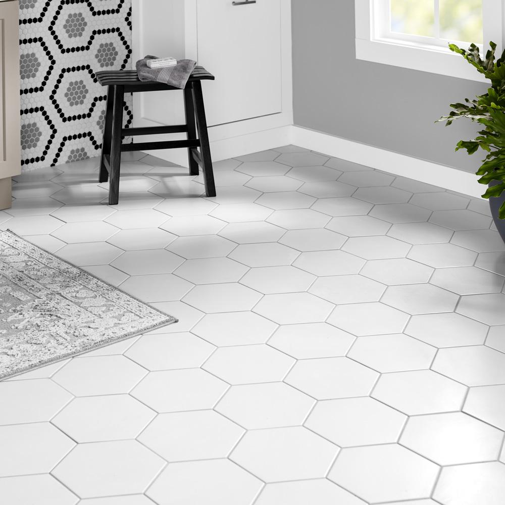 Merola Tile Textile Hex White 8 5 8 In X 9 7 8 In Porcelain Floor And Wall Tile 11 56 Sq Ft Case Fcd10wtx In 2020 Porcelain Flooring White Tile Floor Tile Bathroom