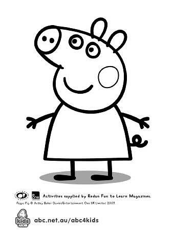 Peppa Pig Template For Birthday Cake Peppa Pig Coloring Pages