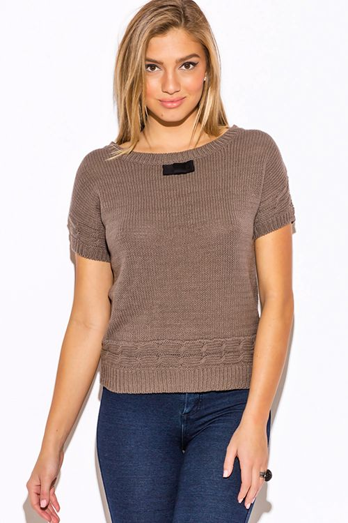 Cute cheap mocha cable knit bow tie applique short sleeve preppy ...