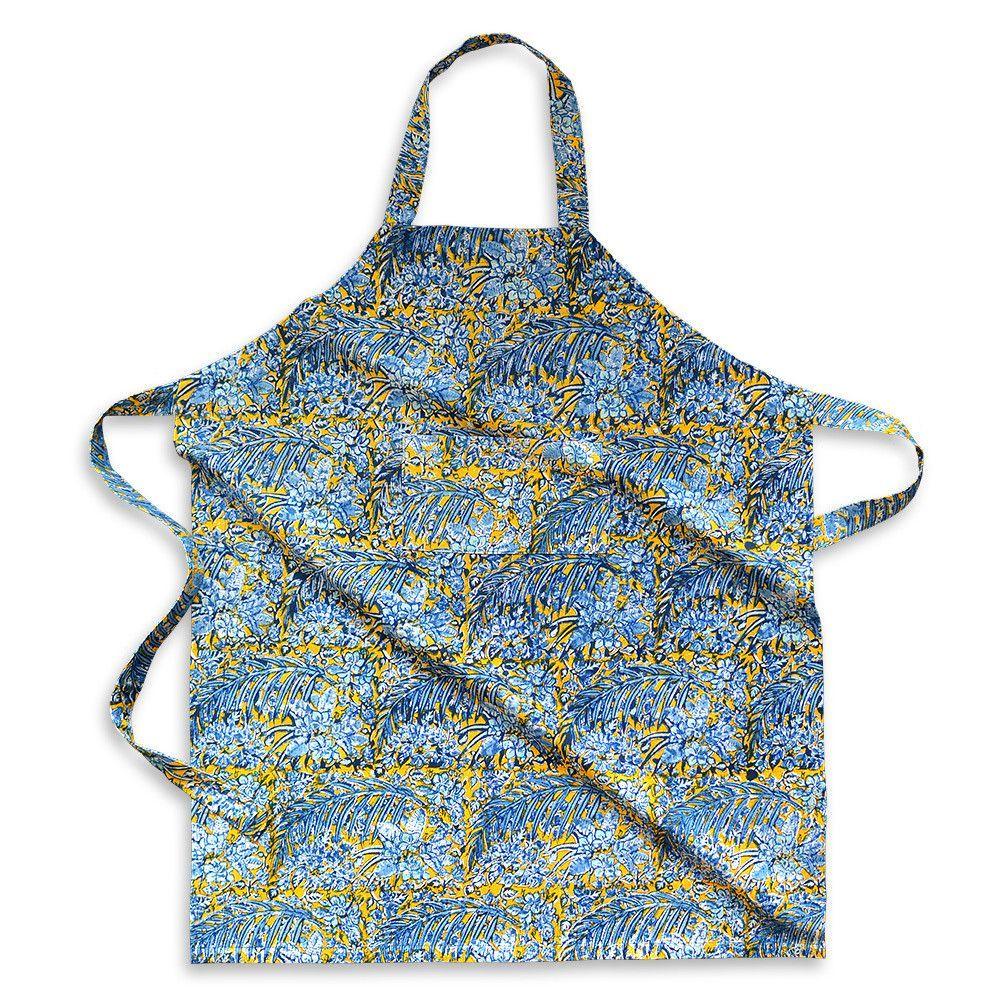 Bougainvillea Apron (Yellow/Blue)
