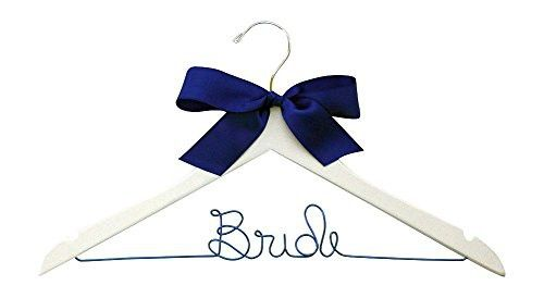 Something Blue Bride Hanger for Wedding Dress on White Wood Premium Hanger With Blue Wire