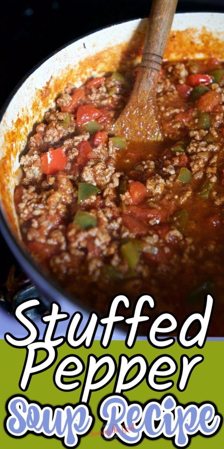 Stuffed Pepper Soup Recipe In 2020 Stuffed Pepper Soup Stuffed Peppers Stuffed Pepper Soup Crockpot