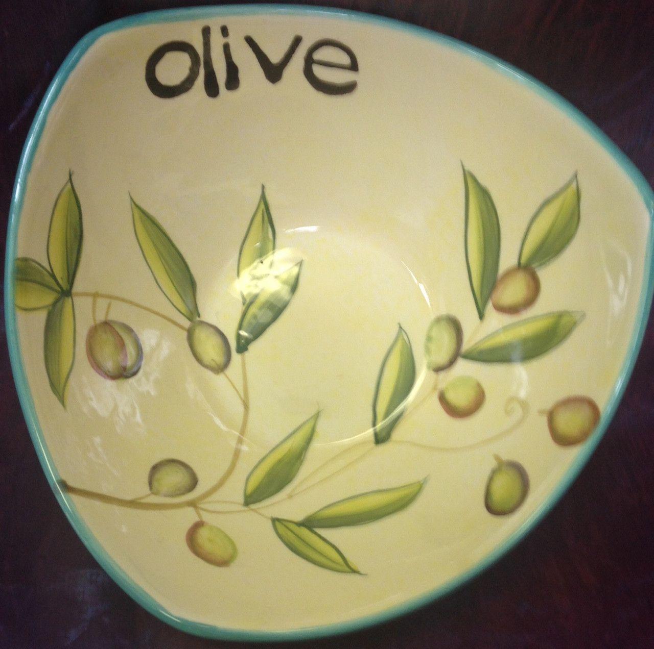 "Cypress Haindpainted Ceramic 7"" Bowl Taste Of Italy Olive"